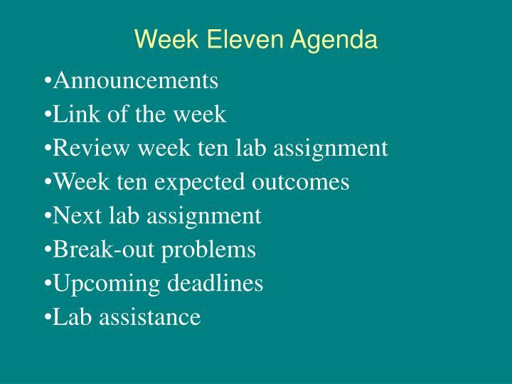 Week Eleven Agenda