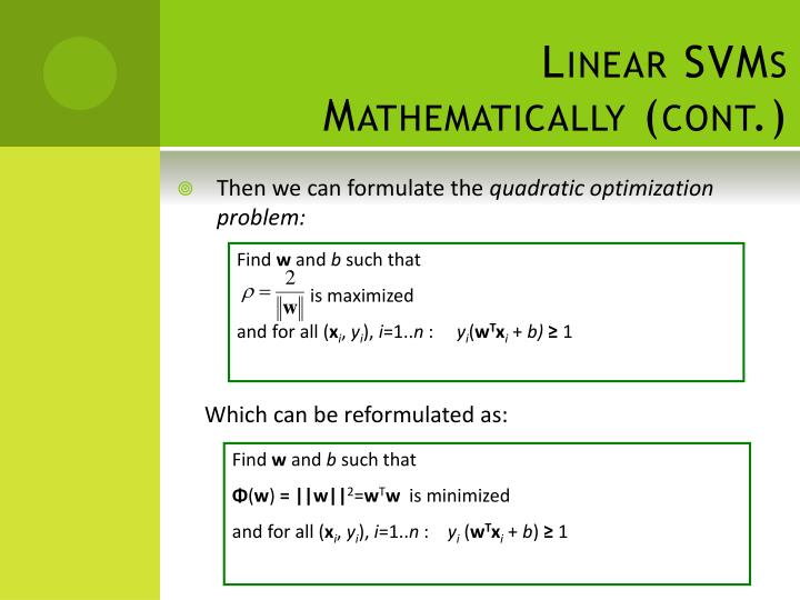 Linear SVMs Mathematically (cont.)