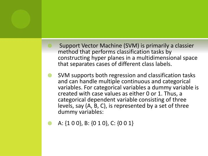 Support Vector Machine (SVM) is primarily a classier method that performs classification tasks by constructing