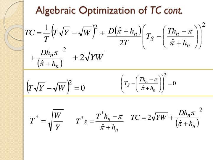 Algebraic Optimization of