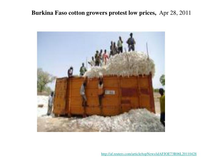 Burkina Faso cotton growers protest low prices,