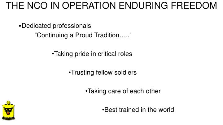THE NCO IN OPERATION ENDURING FREEDOM