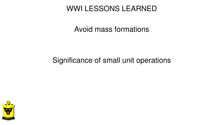 WWI LESSONS
