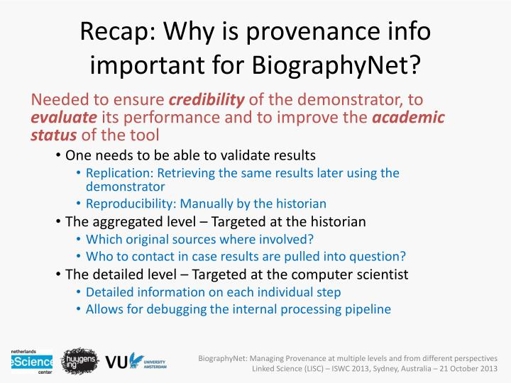 Recap: Why is provenance info important for