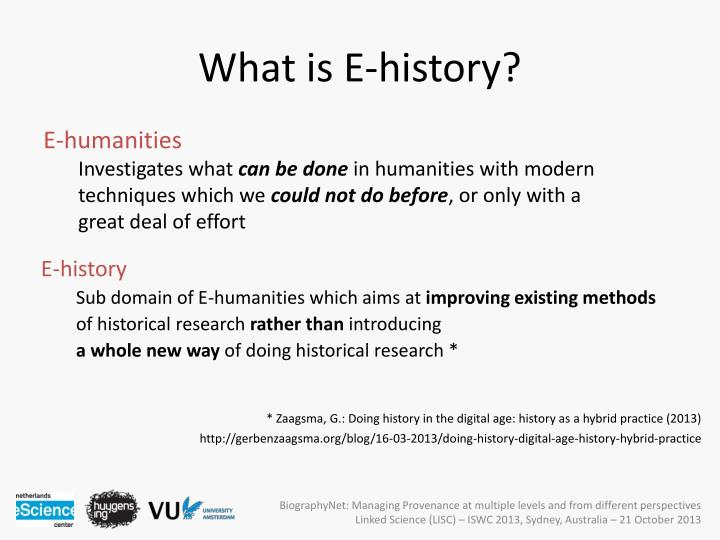 What is E-history?