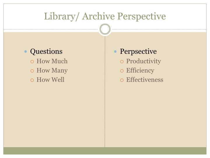 Library/ Archive Perspective