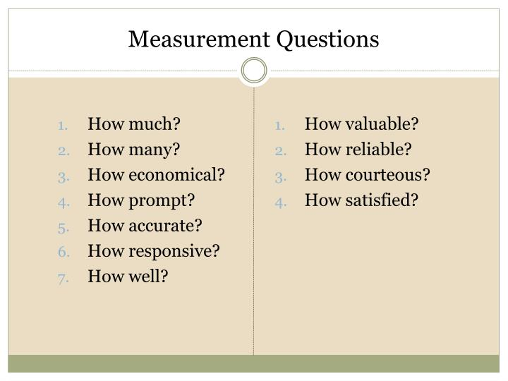 Measurement Questions