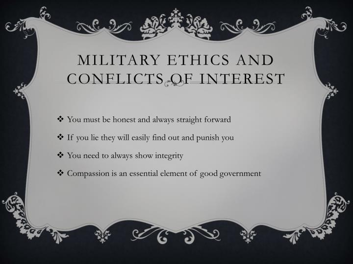 Military Ethics and Conflicts of Interest