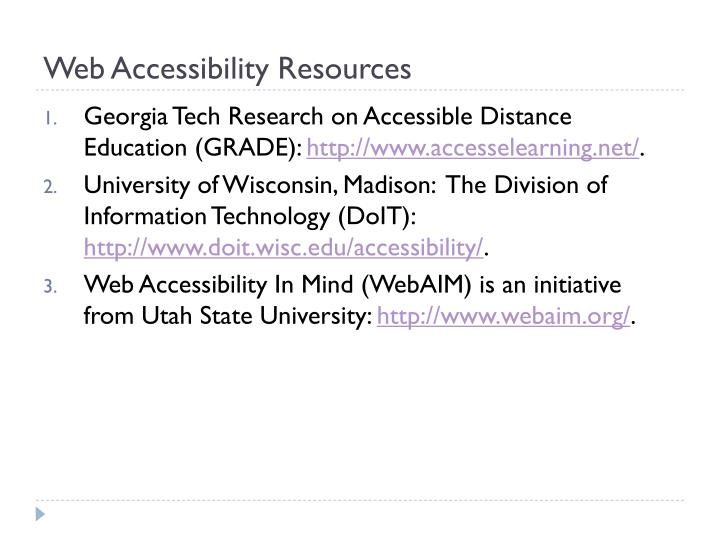 Web Accessibility Resources