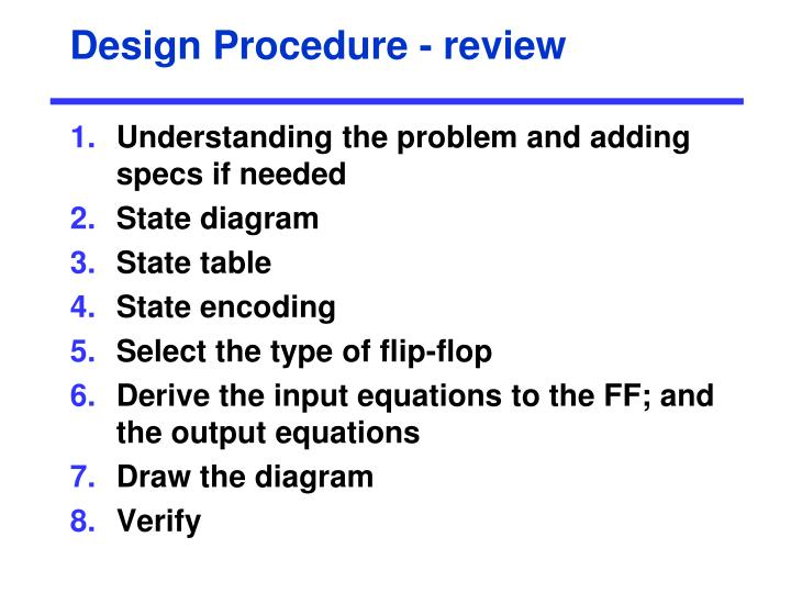 Design Procedure - review