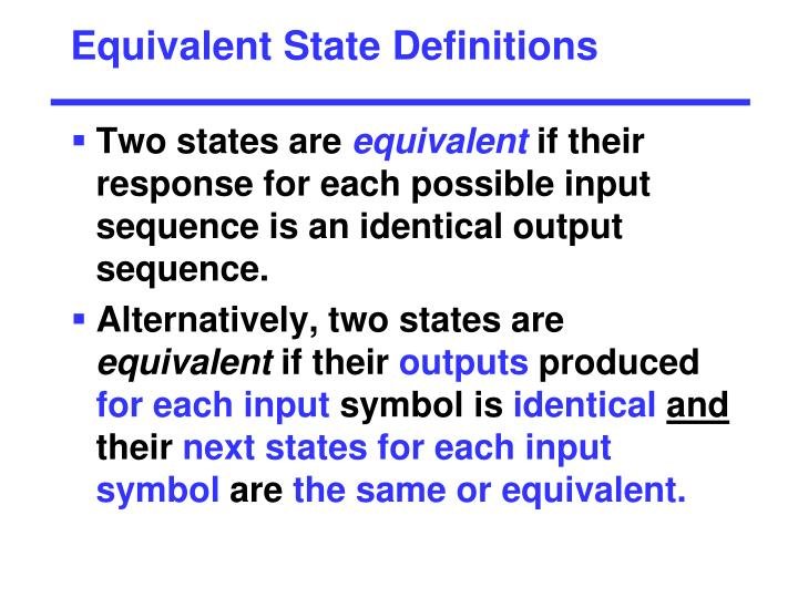 Equivalent State Definitions