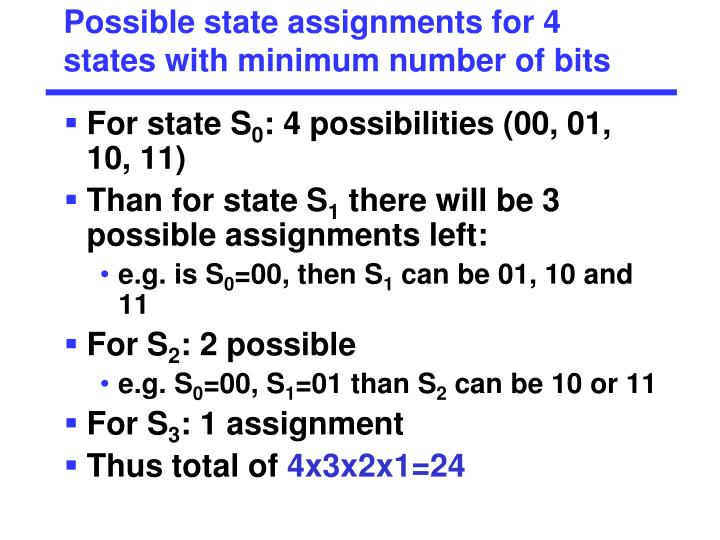 Possible state assignments for 4 states with minimum number of bits