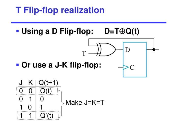 T Flip-flop realization