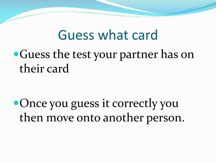 Guess what card