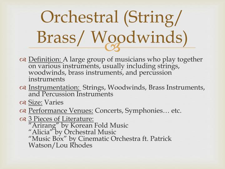 Orchestral string brass woodwinds