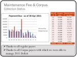 maintenance fee corpus collection status