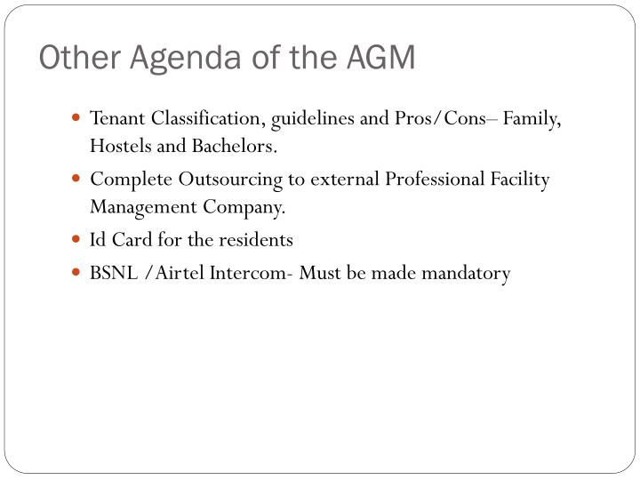 Other Agenda of the AGM