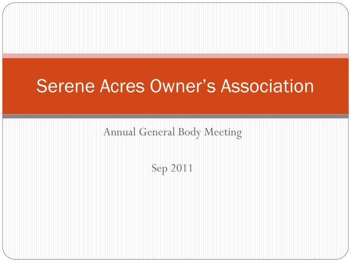 Serene acres owner s association