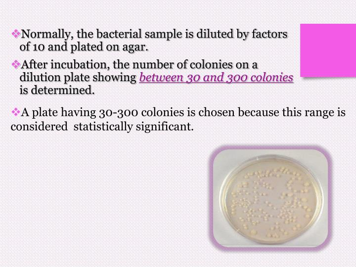 A plate having 30-300 colonies is chosen because this range is considered  statistically significant.