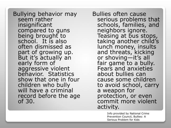 Bullying behavior may seem rather insignificant compared to guns being brought to school.  It is also often dismissed as part of growing up.  But it's actually an early form of aggressive violent behavior.  Statistics show that one in four children who bully will have a criminal record before the age of 30.