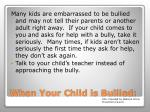 when your child is bullied