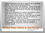 when your child is the bully