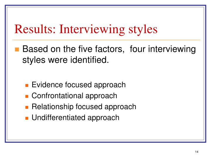 Results: Interviewing styles
