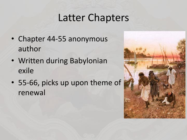 Latter Chapters