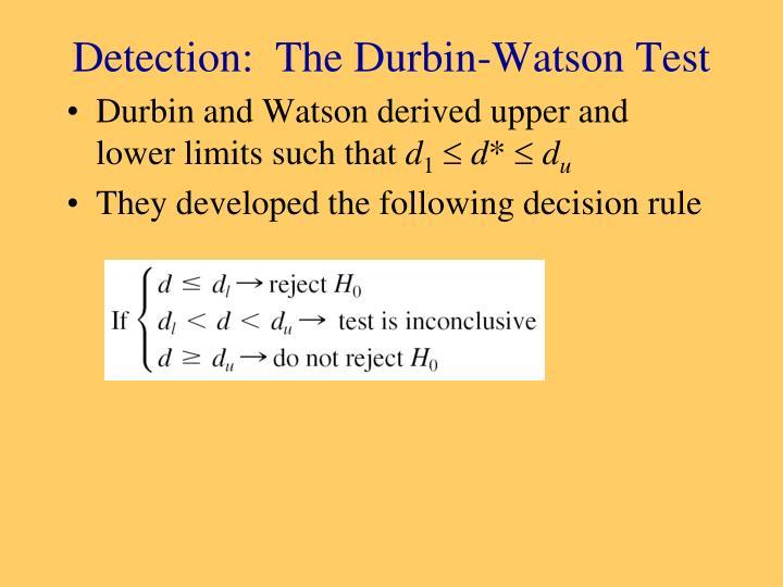 Detection:  The Durbin-Watson Test