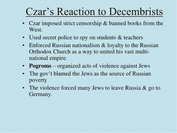 Czar's Reaction to Decembrists