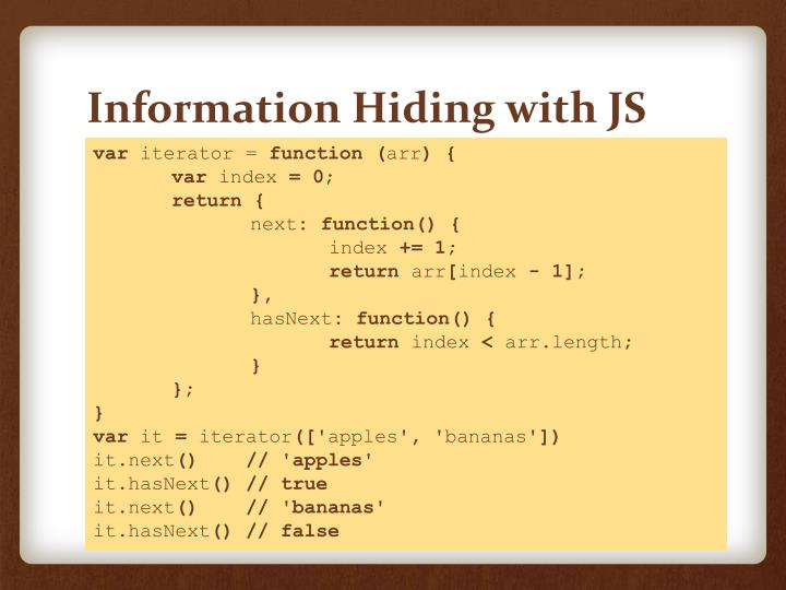 Information Hiding with JS
