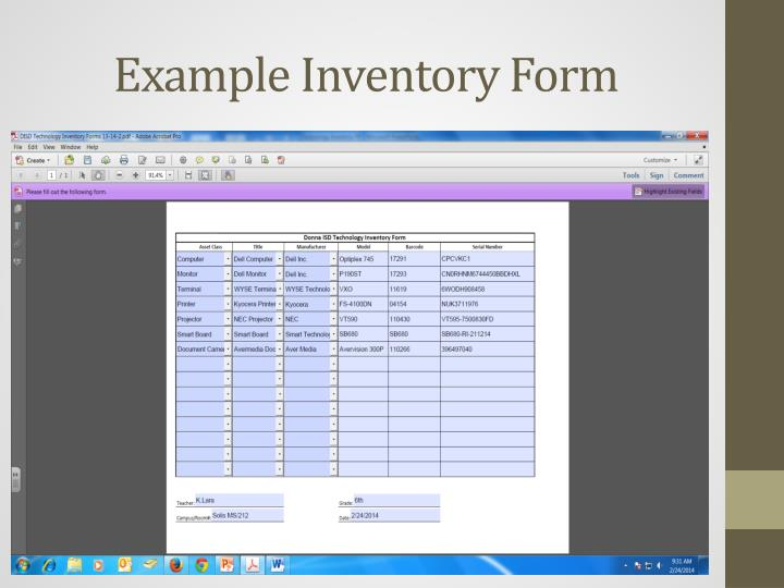 Example Inventory Form