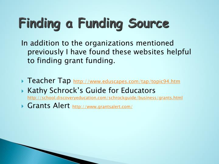Finding a Funding Source