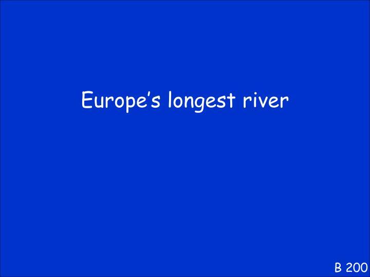 Europe's longest river