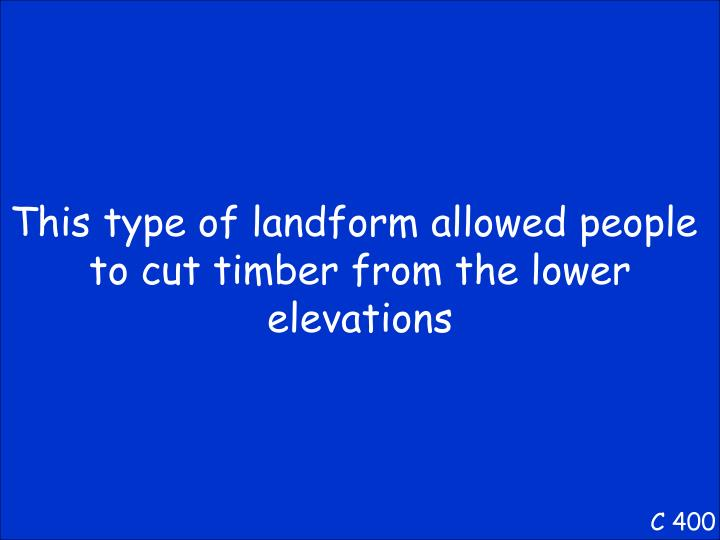 This type of landform allowed people