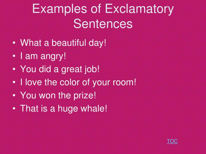 Examples of Exclamatory Sentences