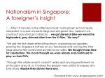nationalism in singapore a foreigner s insight