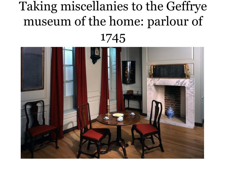 Taking miscellanies to the