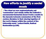 new efforts to justify a social meals18
