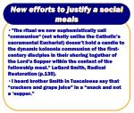 new efforts to justify a social meals19