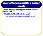 new efforts to justify a social meals28