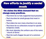 new efforts to justify a social meals7