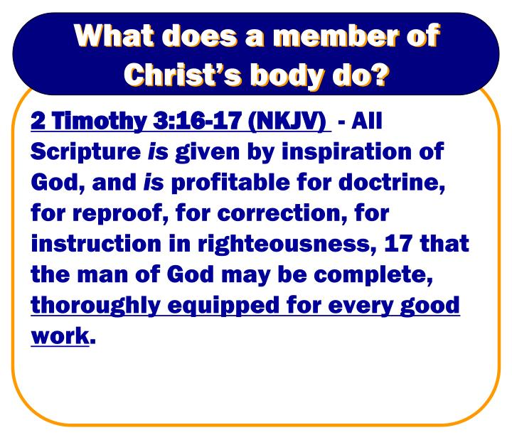 What does a member of Christ's body do?
