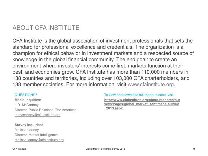 ABOUT CFA INSTITUTE
