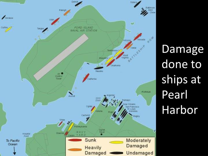 Damage done to ships at Pearl Harbor
