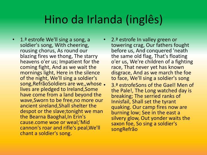 Hino da Irlanda (inglês)