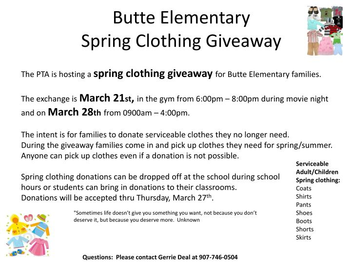 butte elementary spring clothing giveaway