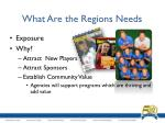 what are the regions needs1