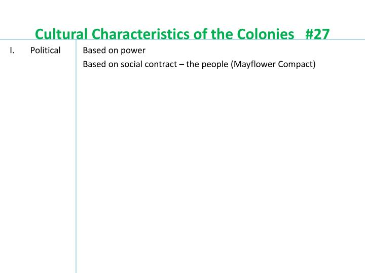 Cultural characteristics of the colonies 27