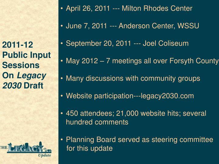 April 26, 2011 --- Milton Rhodes Center
